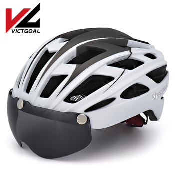 VICTGOAL Mountain Road Bike Helmet Light MTB Bicycle Helmet For Men Women Integrally Molded Windproof Cycling Helmet With Goggle c01 02 ultra light road bike pneumatic helmet mountain mtb helmet the overall molded bicycle helmet bicycle riding equipmen
