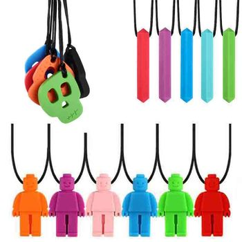 1PC Rainbow Brick Robot Skull Chew Necklace Autistic Baby Silicone Teether Autism Sensory Chewy Toys