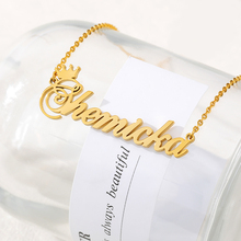 Crown Necklace Charm Jewelry Nameplate Pendant Choker Customized Stainless-Steel Birthday-Gifts