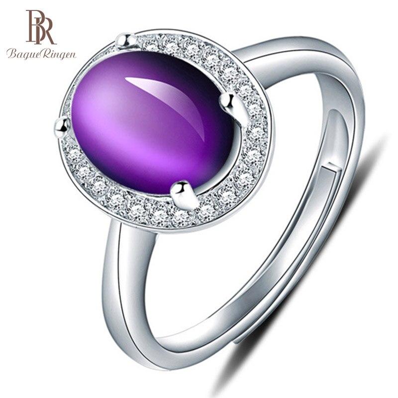 Bague Ringen pur 925 Bague en argent Sterling pour les femmes avec 10*12mm créé violet pierres précieuses anneaux femme bijoux fins pour mariage