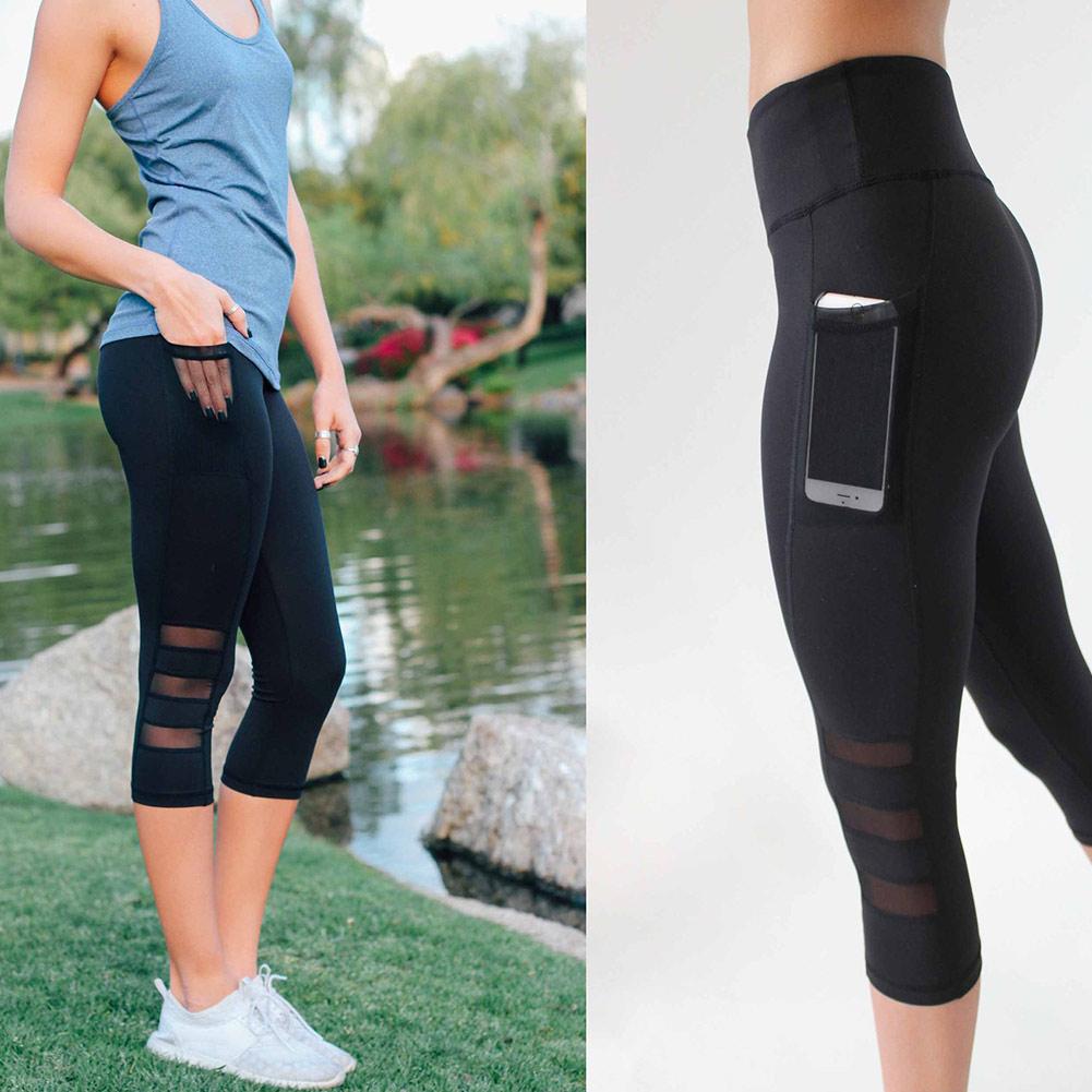 Sexy Women Yoga Leggings Capri Pants Leggings Sport Fitness Gym High Waist Mesh 3/4 Trousers HB88
