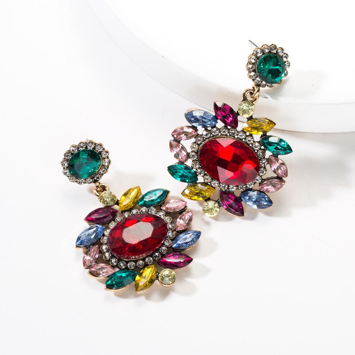 Multicolor Rhinestone Charm Cute Stud Earrings Girls Gifts Fashion Jewelry 2019 New Brand,Multicolour