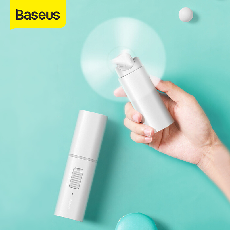 Baseus Portable Folding USB Fan Mini Cooling Fan Rechargeable 2 Speed USB Cooler Fan 2000mAh Emergency Power Bank Cooling Fan