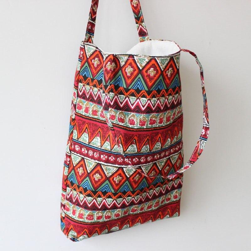 Pure Handmade Tote Shoulder Bag Beach Satchel Sling Bags Travel Print Linen Cotton Casual Hipster Bag Shoulder Bags For Women
