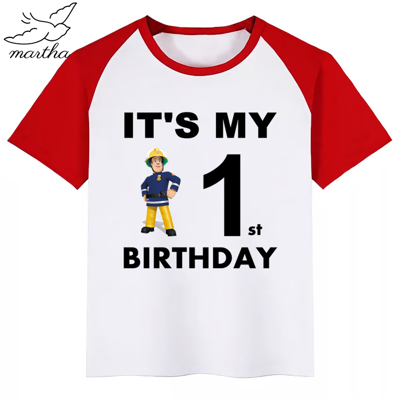 Happy <font><b>Birthday</b></font> Number1-9Cartoon Fireman Sam Kids Clothes Girls T-shirt <font><b>Birthday</b></font> Present Children Clothing Boys <font><b>Tshirts</b></font> <font><b>Baby</b></font> Tees image