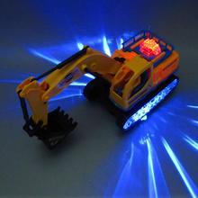360 Вращающийся Электрический экскаватор строительный автомобиль с музыкой светодиодный Развивающие игрушки для детей подарок