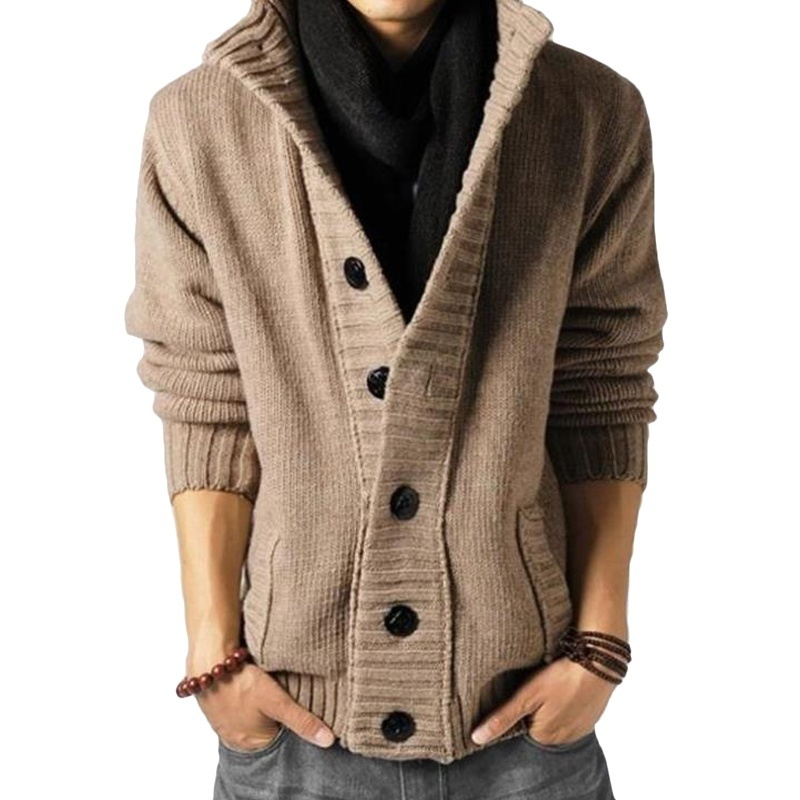 Cardigan Men's Sweater Fashion Knitted Stand Collar Sweater Men Clothig Long Sleeve Solid Color Button Cardigan Coat Ropa Hombre