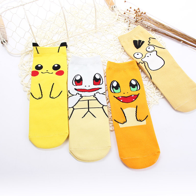 Anime Pokemon Pocket Monster Cosplay Props Ankle Socks Kawaii Cartoon Pikachu Charmander Cotton Sock Child Adult Stockings