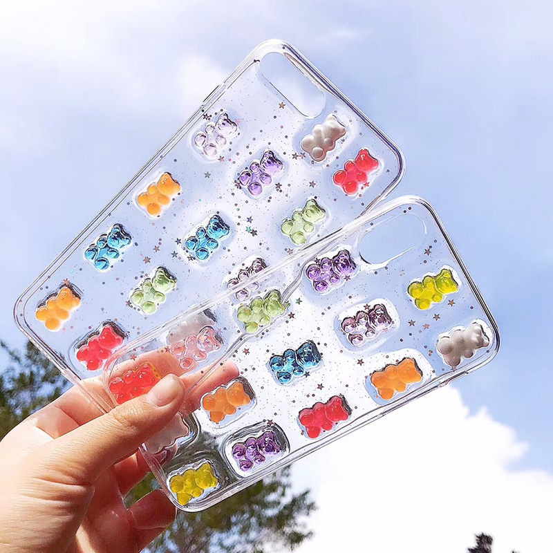 Cute 3D Stereo Glitter Phone Case For iPhone 11 11Pro Max Gummy Bear Candy Color Case For iPhone X 6 6S 7 8 Plus XS Max XR Cover