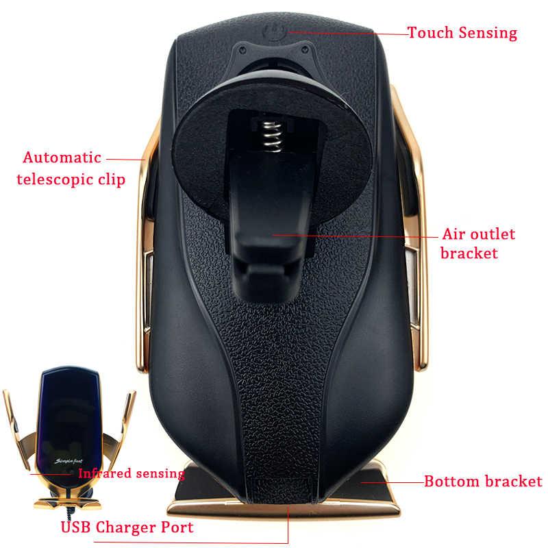 R1 10W dengan QI Wireless Charger Mobil Otomatis Menjepit Charger Telepon Pemegang dengan Adaptor Receiver Modul untuk Iphone Samsung Huawei