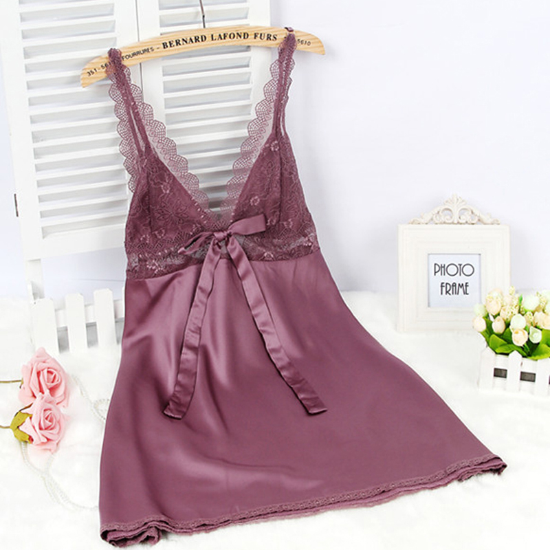 Women Silk Satin Night Dress Lace Night Gown Summer Home Dress V-neck Nuisette Femme  Nightwear Sleeveless Nighty For Ladies