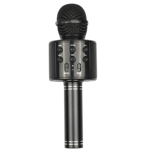 Black Portable Handheld Wireless Bluetooth Karaoke OK Microphone and Bluetooth Speaker MIC Speaker Record Music KTV Microphone