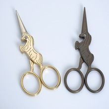 ZOYOONE 1Pcs Horse-Shaped 12 Zodiac Shaped Titanium-Plated Durable Retro Embroidered Scissors Mini Tailor Craft Tools