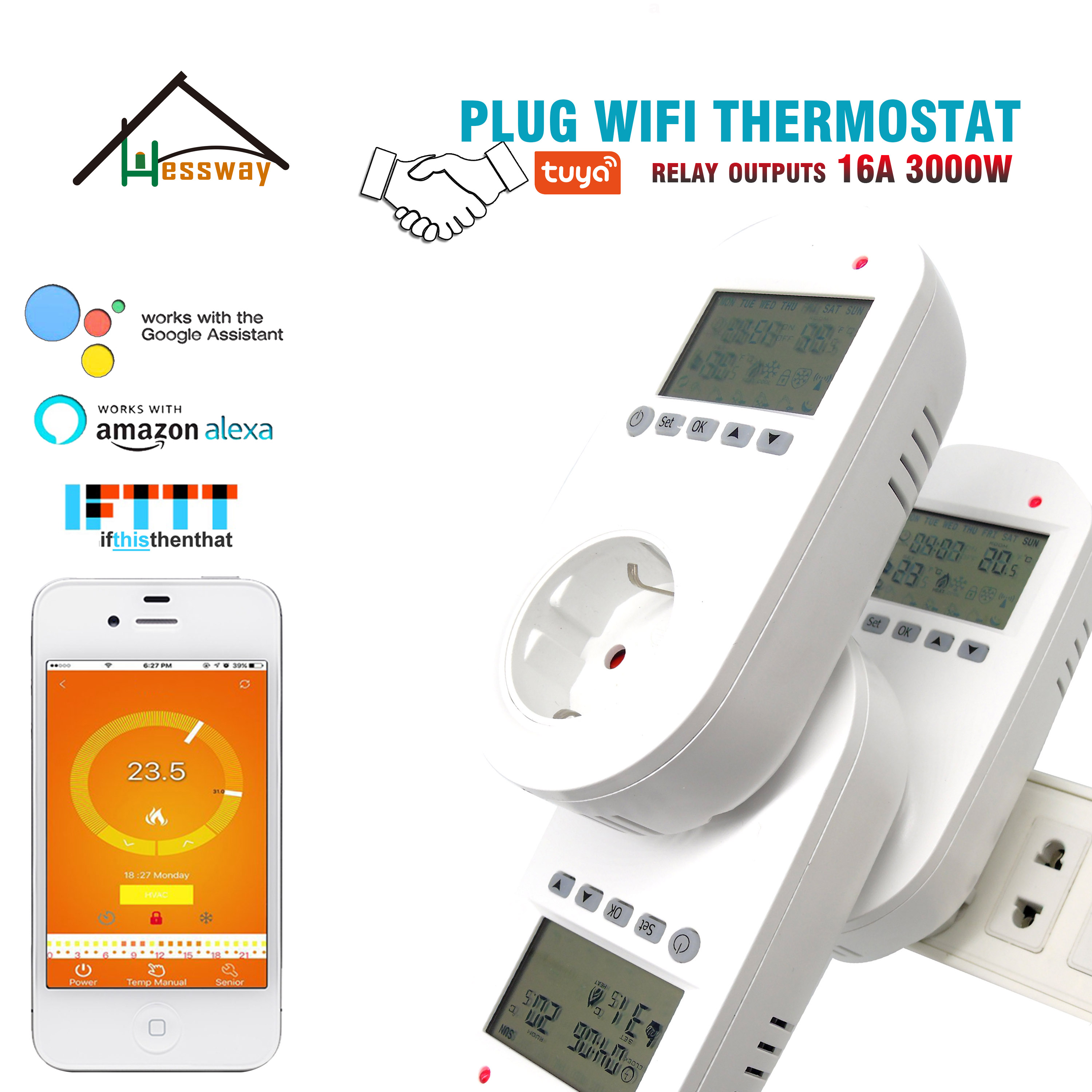 HESSWAY TUYA 16A Smart Plug EU Thermostat Wifi For Electric Floor Heating