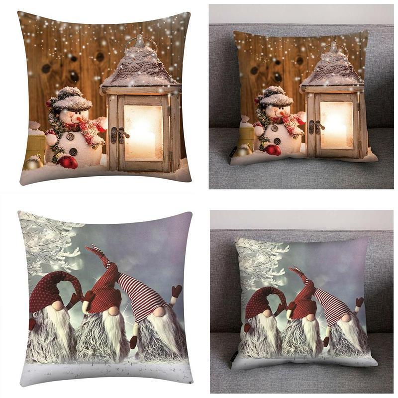 45*45cm Christmas Pillow Case Santa Polyester Throw Home Textile