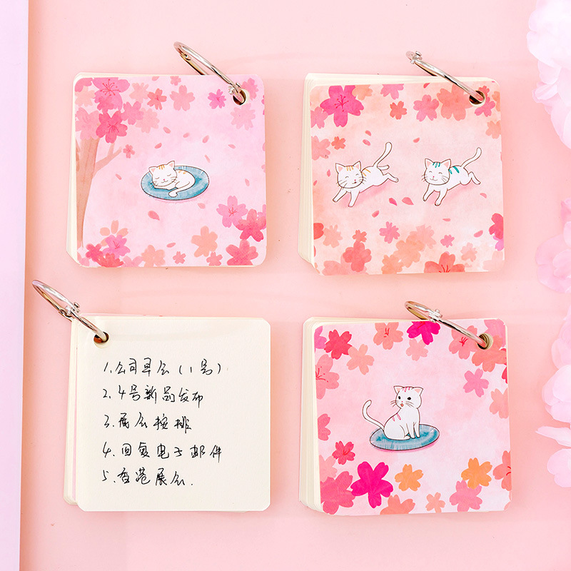 Cute Cherry Cat Memo Pad Cute Sakura Ring Buckle Blank Word Book Card Tearable Notepads Stationery Gift Notebook