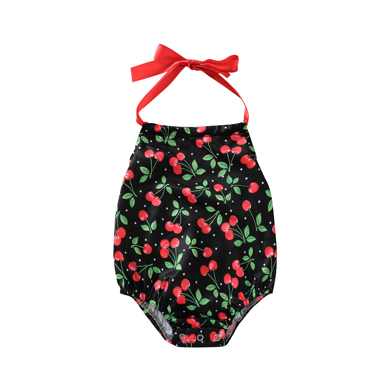Newborn Infant Baby Girls Sweet Cherry Print Rompers Halter Lace-up Backless Bodysuit Jumpsuits with Crotch Button 0-24M