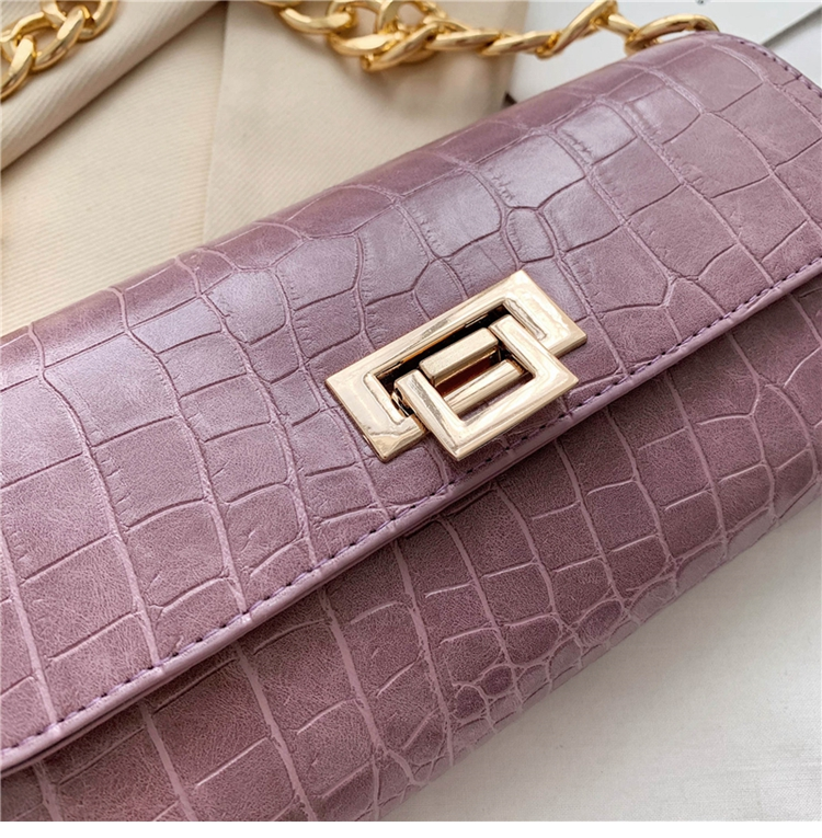 Crocodile Pattern Vintage Soild Color Small Square Bag For Women 2020 summer Handbag And Small Chain Bags Fashion Armpit Bag (23)