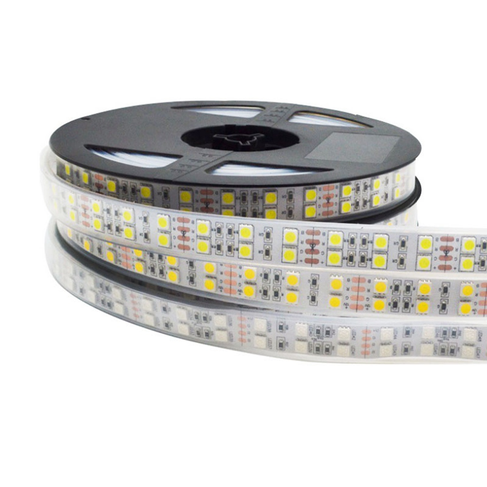 5m 5050 Double Row RGB <font><b>LED</b></font> <font><b>Strip</b></font> <font><b>Waterproof</b></font> 120LEDs/m <font><b>White</b></font> PCB RGB RGBW RGBWW <font><b>White</b></font> Warm WhiteLED Light DC 12V 24V IP30/IP67 image