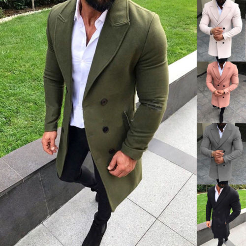 New Style Mens Winter Trench Coat Double Breasted Warm Outwear Long Solid Jacket Formal Overcoat