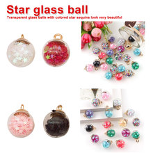 16mm Colorful Transparent Glass Ball Star Pendant Finding for Hair Jewelry Accessories Earring