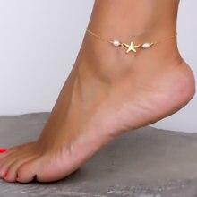 Tornozeleira feminina com concha, tornozeleira feminina feita à mão estilo boêmio, joia para pé