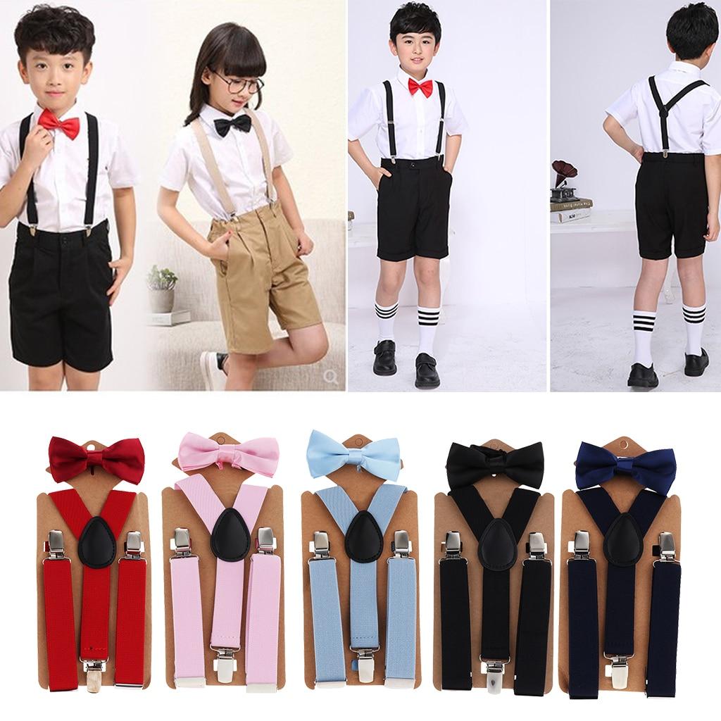 Suspenders Belt For Kid Strap Adjustable Elastic Clip On Boys Clothes Accessories Y-back Suspenders Elastic Brace Bow Tie