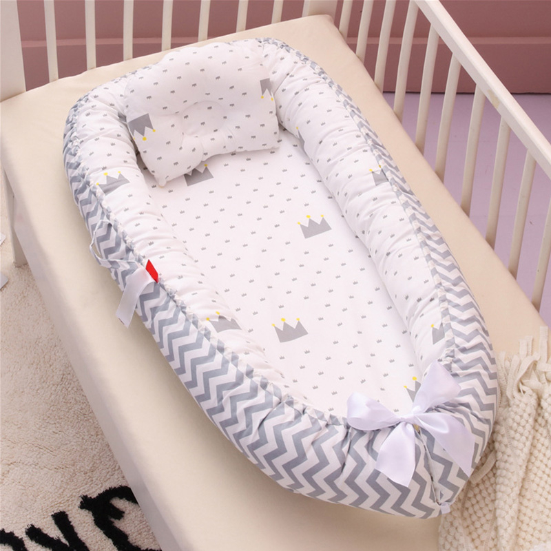 Portable Baby Bed With Pillow Soft Cotton Baby Nest Crib Travel Bed Infant Cradle Newborn Bed Bassinet Bumper Protector Babynest