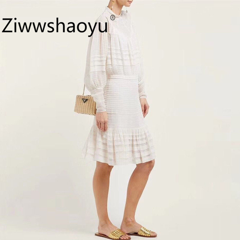 Ziwwshaoyu Elegant Brand White Mermaid Dresses Women Lantern Sleeve Cascading Ruffle Package Buttocks Sexy Party Midi Dress in Dresses from Women 39 s Clothing
