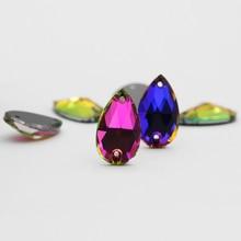 Heliotrope Glitter Sew in Rhinestones Stone Flatback Drop Strass for Craft Sweater Clothing Decoration Wedding Dress Beads