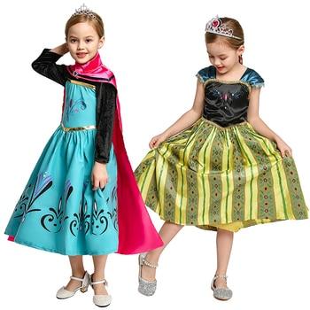 цена на Fancy Elsa Anna Dresses for Girls Cosplay Princess Costume Kids Party Dress Anna Elsa Role Play Clothing Children Cartoon Gowns