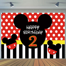 Red Black White Dots Girl 2nd Birthday Backdrops Cartoon Mouse Shaped Girl Princess Photography Backgrounds