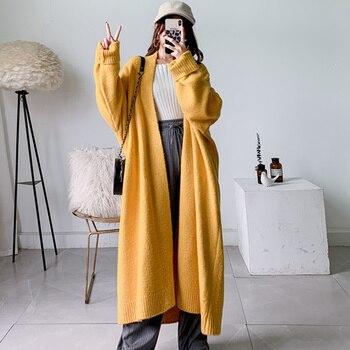 Alpaca Blend Sweater Cardigan Women Winter Coat Pockets Design Batwing Sleeve Knitted Long Cardigan Thick Plus Size Sweaters long cardigan women sweater autumn winter bat sleeve knitted sweater plus size jacket loose ladies sweaters coat plus size