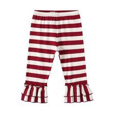 Рождественские красные детские милые брюки с поясом для маленьких девочек; милые повседневные брюки в полоску с кружевами; сезон весна-осень; От 0 до 3 лет