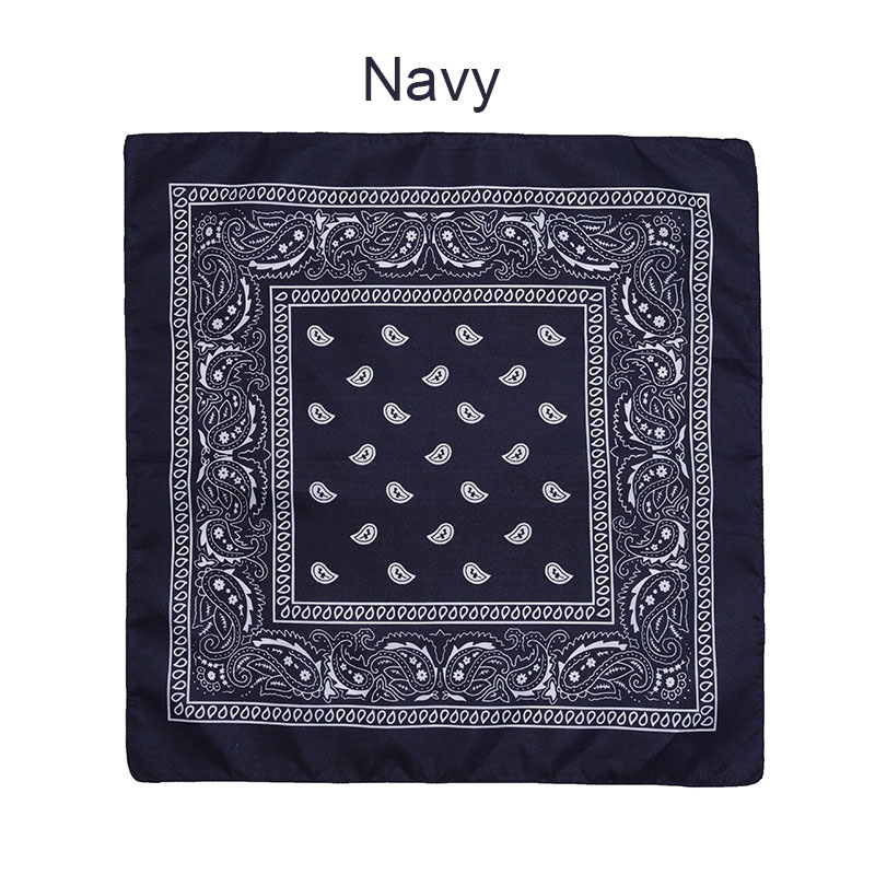 55 см* 55 см, унисекс, черная бандана, модный головной убор, повязка на голову, шейный шарф, повязки на запястье, квадратные шарфы, платок с принтом, Прямая поставка - Цвет: Navy