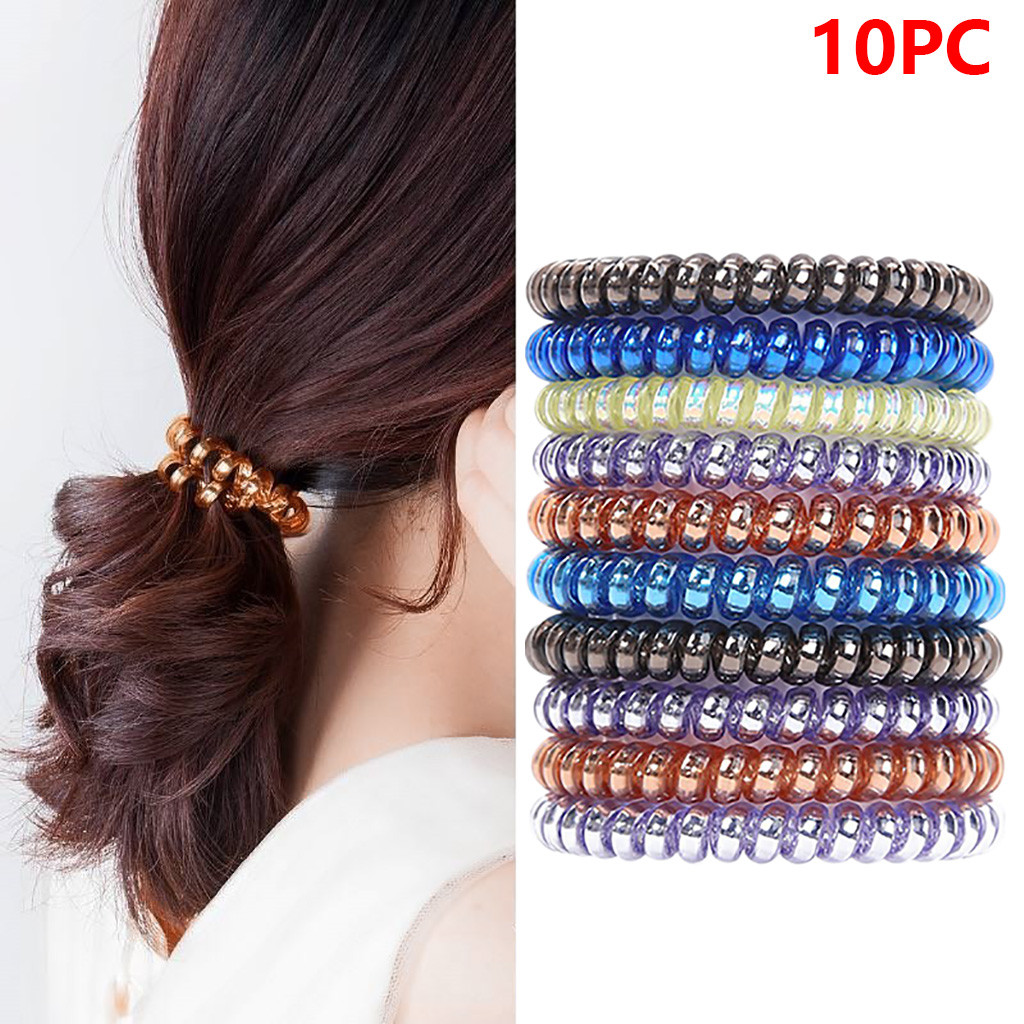8/10/20 pcs Multicolor Elastic Hair Bands Spiral Shape Ponytail Gum Rubber Band Hair Rope Telephone Wire Hair Accessories