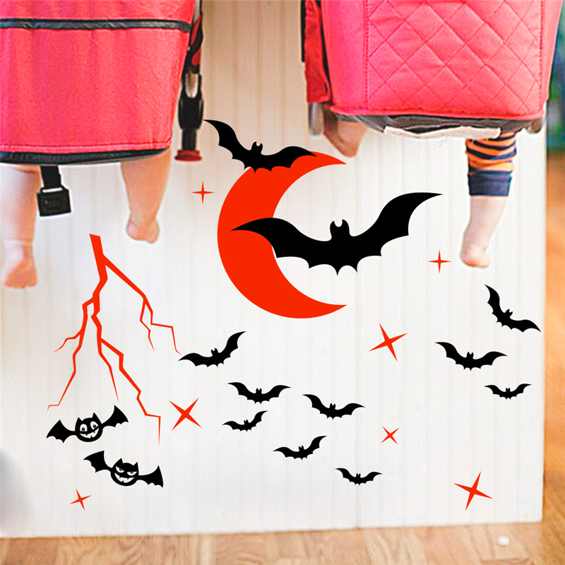 New Halloween Decor cartoon Bat Moon wall stickers bedroom kids room home decor fantasy wall decals vinyl mural art DIY posters in Wall Stickers from Home Garden
