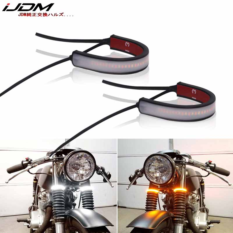 IJDM Wrap Around Fork/Rollbar Mount White LED Driving DRL & Amber LED Turn Signal Light Strips For Motorcycle Bike ATV UTV, Etc