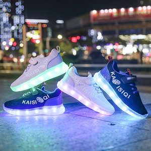 Image 4 - Size 25 35 2019 New Arrival Kids Shoes for Girl Boys Glowing Luminous Sneakers with Light Childrens LED Shoes USB Charging