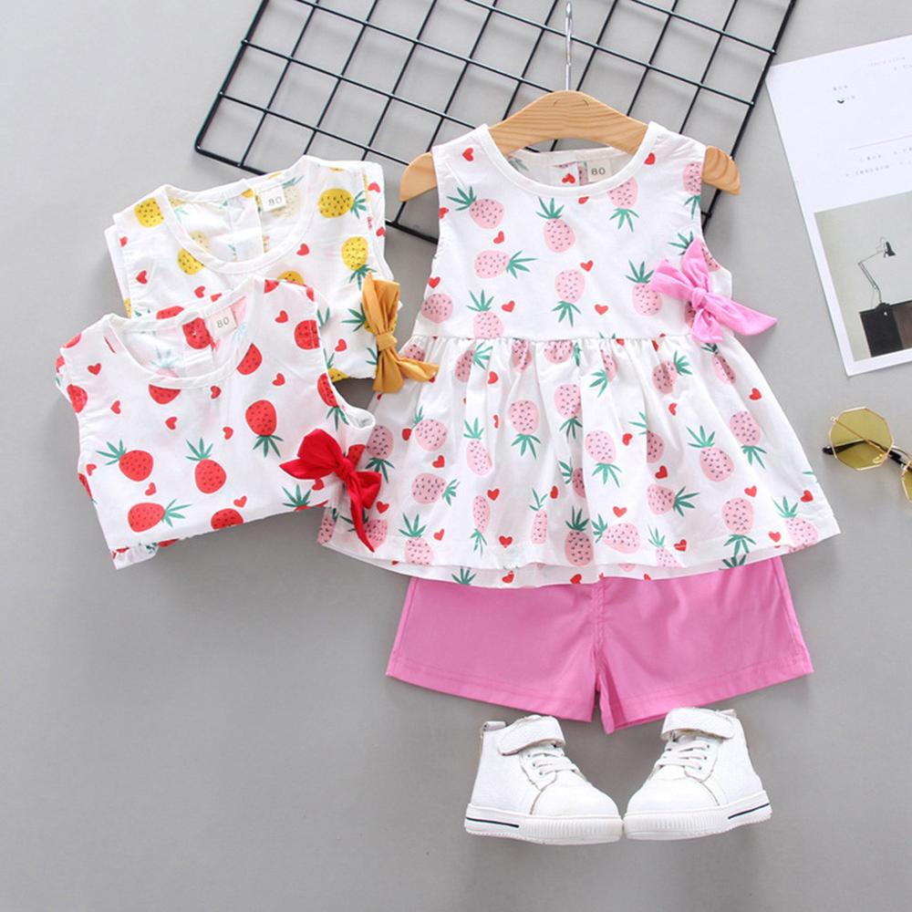Baby Girls Clothes Set Fruit Pineapple Print Vest Sleeveless Bow Tops Solid Color Shorts Infant Outfits 0-3Y Baby Child Clothes