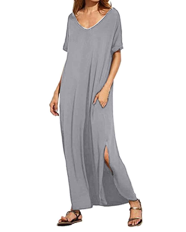 Frauen Sommer Solide Hemd Kleid Casual Sexy V-Ne ck Kurzarm Taschen Hohe Split Kleider Damen Lange Maxi party Vestidos Mujer