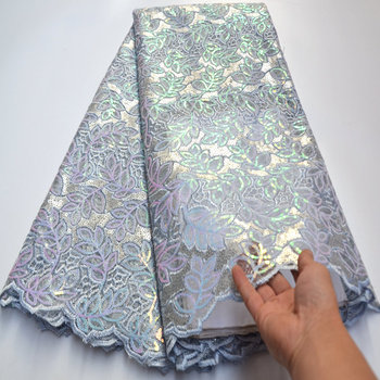 all sequins very soft beautiful African french lace tulle fabric high quality Nigerian lace fabrics for Party dress Wo548