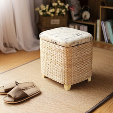 Storage Stool Rattan Wicker Ottoman Basket Shoe Cabinet Sofa Stool mall Shoe Store Footstool Multi-Function Storage Footrest