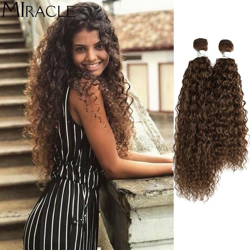 Афро кудрявые вьющиеся волосы, волнистые синтетические волосы, термостойкие пряди волос с глубокой волной, удлинители, коричневые Чудесные...