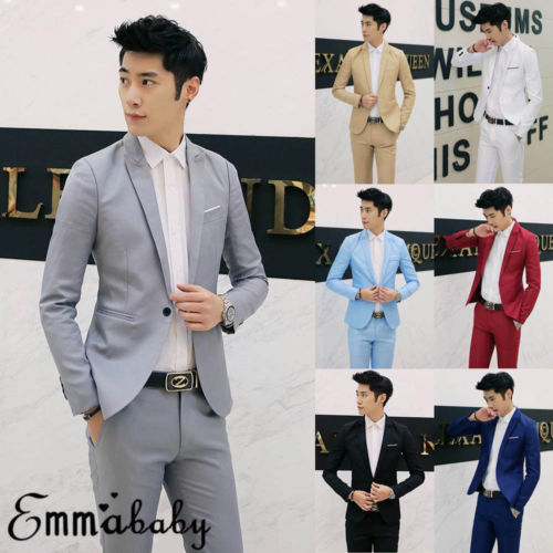 New Mens Casual Slim Fit One Button Suit Blazer Business Coat Jacket With Pocket Fashion Plus Size