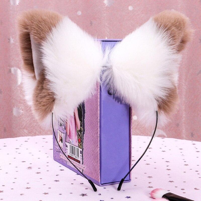 Обруч для волос с кошачьими ушками из искусственного меха, повязка на голову с лисьими ушками для косплея, женский милый обруч ручной работы, головной убор, аксессуары для волос