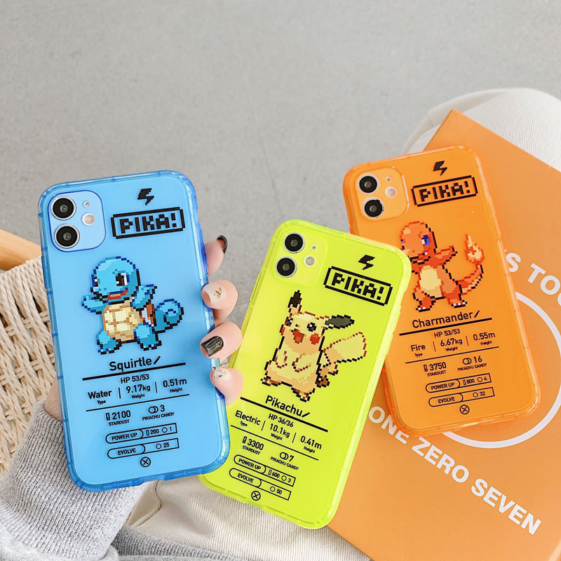 ShareEzone Fluorescent Color Cute Pokemon Cartoon Back Phone Case For iPhone 7 8 Plus X XR XS Max 11pro Max Clear Soft Backcover 1