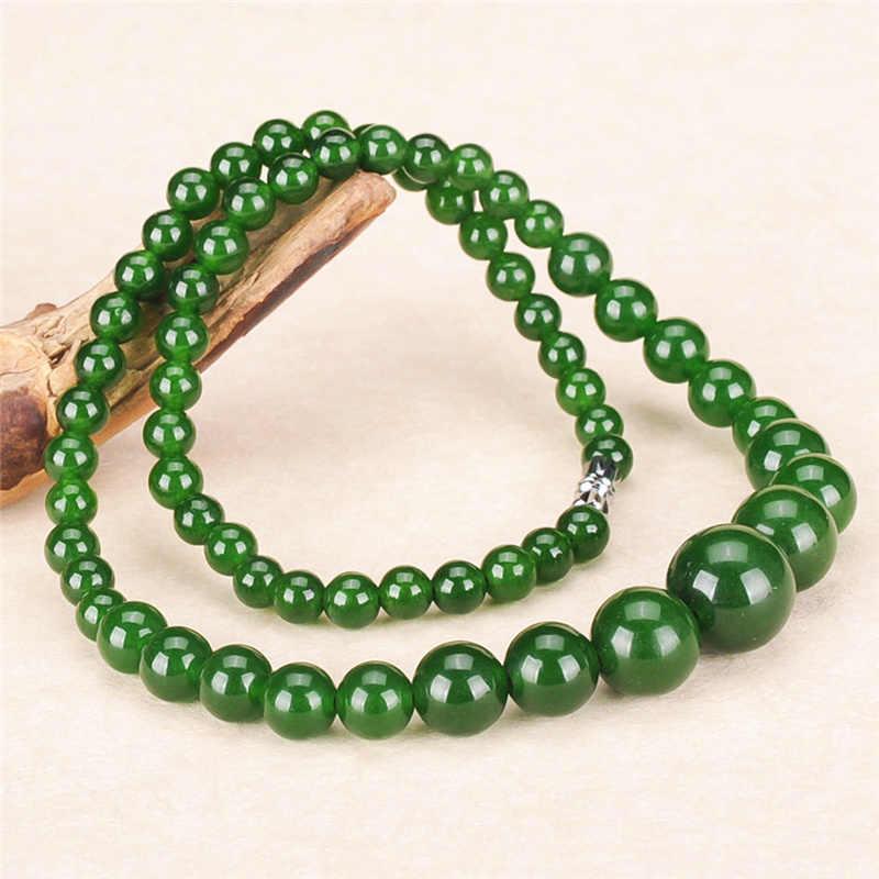 ธรรมชาติสีเขียว 6-14 มม.ลูกปัดสร้อยคอ Jadeite แฟชั่นเครื่องประดับ Charm อุปกรณ์เสริม Lucky Amulet ของขวัญของเธอผู้ชาย