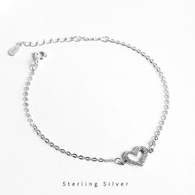 ZOBEI  925 Sterling Silver LOVER  Chain Bracelet Minimalist Fine Jewelry For Women Birthday Party Accessories Gift