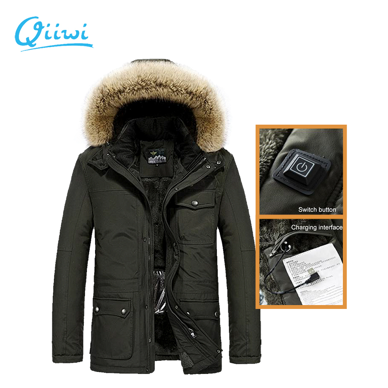 Dr.Qiiwi Men Cotton Clothes Heated Jacket Middle-Aged Casual Heated Coat For Autumn Winter Thermal Clothing